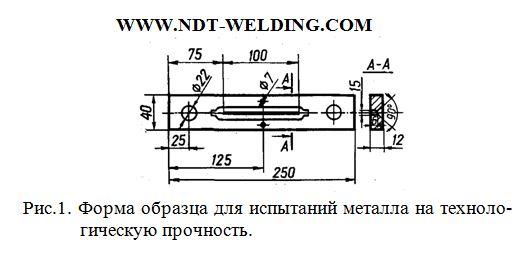 Форма образца для испытаний металла на технологическую прочность