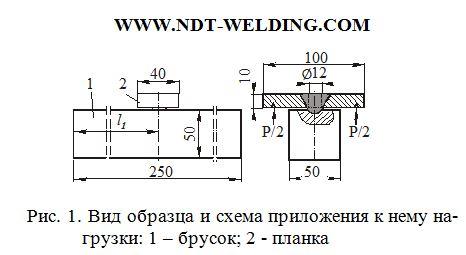 Рис.1 Вид образца и схема приложения к нему нагрузки: 1 – брусок; 2 – планка.